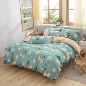 Simple Pastoral Bedding Set Duvet Cover Sheet Pillowcase Grid Black Lattice Bed Linens 180x220cm Double Size Litchi Pattern
