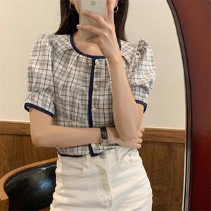 Новое лето Элегантный Блузы женщин Корейский Стиль Chic Pearl Кнопка Puff рукавом Vintage Plaid Shirt Женские топы