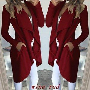 Sonbahar İlkbahar Kadın Tasarımcı Hendek Coats Casual OL Stil Coats Düzensiz Katı Renk Kadın Windbreakers Yaka Yaka Uzun Kollu Windproof