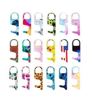 chaud Porte-clés acrylique sans contact Ouvre-porte de contact Crochet clé Poignée de porte clé ascenseur outil 19style Party Favor DHC23