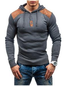 Designer Mens Hoodie patchwork a maniche lunghe Slim con cappuccio Felpe autunno della molla solido casuale di sport del Mens di colore di vestiti