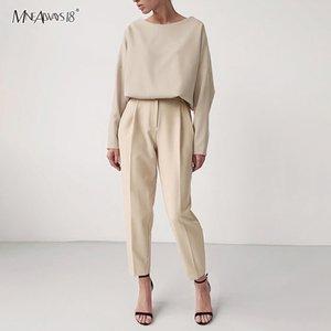 Mnealways18 caqui casual Pantalones de cintura alta Oficina Brown Wear Mujeres sólido pantalones elásticos de la cintura pantalones de las señoras de la cremallera 2020 Moda CX200804