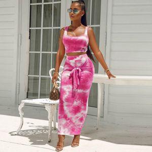 Seksi Kadın İki Adet Elbise Suits Moda Kravat-boya Kaşkorse Dantel-up Çanta Kalça Etek İki parça Suit Vest + Etek 2020 Yüksek Kalite Giyim ile