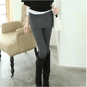 HINEJ Velvet leggings Warm Tight tight pants women wear winter thickened fake two-piece shorts warm high waist elastic large size slim pants