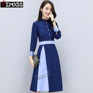 SZMXSS Feminino Outono Novas Mulheres Versão Coreana Slim Frio Wind Patchwork Standneck Casual A-Line Sashes Botão Vestido Vestidos