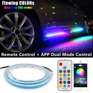 CAR 다채로운 LED 유연한 트리머 흐르는 오신 것을 환영합니다 문 빛 스트립 원격 APP 제어 스커프 창턱 패널 RGB 네온 램프