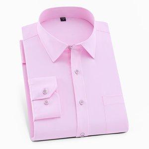 Мужские платья рубашки мужские милые розовые формальные кнопки воротник социальной рубашки мужской повседневный бизнес с длинным рукавом топ тонкий прибор негабаритных мальчиков