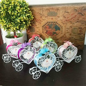 Cute Lovely Cinderella Carriage Candy Chocolate Boxes Birthday Wedding Party Favour Decoration heart shape favor boxes LZ0476
