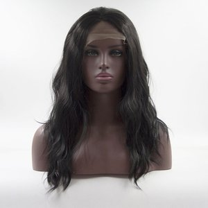 Wholesale Soft Black Natural Wave Lace Front Wig Medium Length High Temperature Fiber Heat Resistant Synthetic Wigs For Black Women