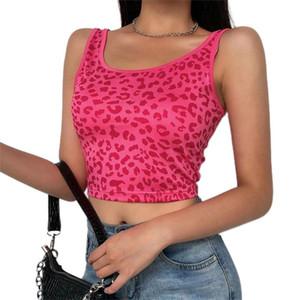E-girl Fashion Leopard Print 90s Streetwear Crop Tops Y2k Summer Pink Or Blue Boodycon Women Sexy Tank Top Gothic 2020