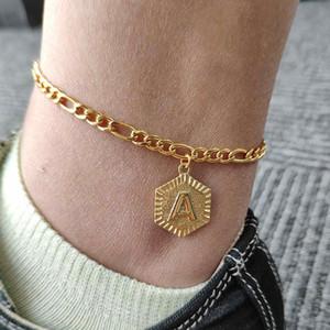 A-Z de la letra inicial del tobillo pulseras para muchachas de las mujeres del color del oro del acero inoxidable del alfabeto para el tobillo del pie femenino joyería de moda Cadena