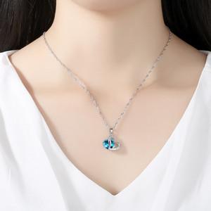 1set Kadınlar Kızlar Gümüş Kaplama Kolye kolye Mavi Çift Kalpler Kristal Taş Ametist Hediye