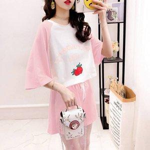 FAyNp costume pantalon Pyjama été des femmes étudiant de style coréen minceur manches courtes large Wide- maison jambe Shorts pantalon large jambe porter somme lâche