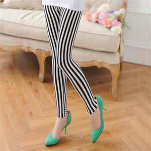 Fashion Soft Retro Multi Styles Womens Casual Sexy Spring Summer Black White Vertical Stripes Leggings Pants High Quality Accessory
