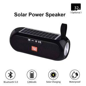 Altavoz Bluetooth TG182 energía solar Columna estéreo portátil Wireless Music Box banco de la energía de Boombox TWS 5.0 Soporte al aire libre TF / USB / AUX
