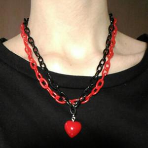 Monili della collana della catena del cuore in acrilico di fascini di modo di colore della caramella del cuore pendente personalizzato Ciondolo multistrato punk collana per le donne del partito