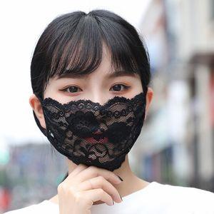 Waschbare Fashion Lace Gesichtsmaske Erwachsene Mund Gesicht Abdeckung Arbeiten Sie bequemen Mädchen-Schwarz-Partei-Schablonen Masque Schwarz / Weiß-Party-Masken Boom2016