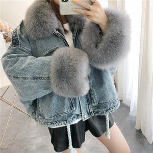 2020 Denim Parkas Winter Coat Women Real Fur Collar Rex Liner Female Parka Real Fur Coats and Jackets Women Clothing