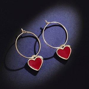 MENGYI New Trends Romantic Love Heart Drop Earrings For Women  Girl Sweety Lovely Hoop Earrings Wedding Jewelry Valentine's Gift