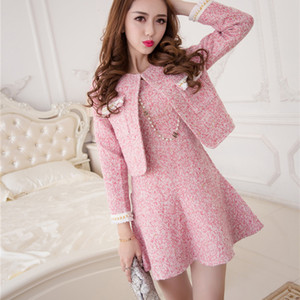 New Autumn Women Two Piece Outfits Sweet Elegant Long Sleeve Tweed Short Jacket Coat + Fashion Ladies Pink Mini Vest Dress Suits