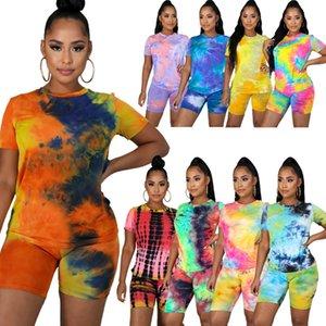 Mulheres designer peças Tow curtas sportswear definidos Roupas tie-dye senhoras em torno do pescoço agasalho casuais de algodão moda esportiva casa terno S-5XL