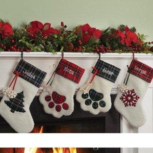 Bas Hanging Noël Chaussettes bonbons bas de Noël Jouets Bonbons Sacs cadeaux Patte d'ours flocon de neige Socks Ornement Décoration
