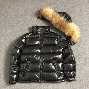 M Branded Men Down Jacket Big Real Raccoon Fur Collar Winter Warm Coat Black Color Men Parkas