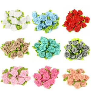 50PCS 2CM Artificial Silk Mini Rose Flowers Heads Make Satin Ribbon DIY Craft Scrapbooking Applique For Wedding Decoration