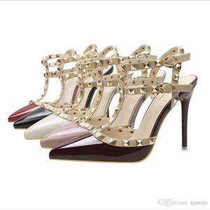 Givenchy Versace Gucci Ysl Fendi UGG Kadın 8 cm ultra yüksek topuklu ayakkabıları Kadın rugan çivili tarzı yüksek topuklu ayakkabıları Kadın Roma tarzı sandaletler TY-49