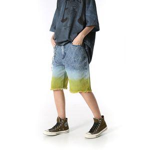 Original Gradient Hip Hop Jeans Shorts Frayed Ripped Streetwear Harajuku Denim Shorts Loose Straigh Knee Length Pants Mens