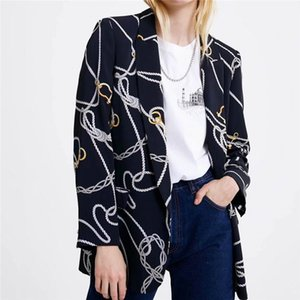 2020 New Spring and Autumn Blazer Female Fashion Printing Chain pattern Suit collar Street hipster Neutral All-match Ladies Tops