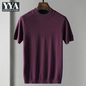 New Herbst Herren Pullover Short Hülse O-Ansatz Loose Fit Solid Color Pullover Strick T-Shirt 2020 Alltag Einfach Männer Stricken Tops