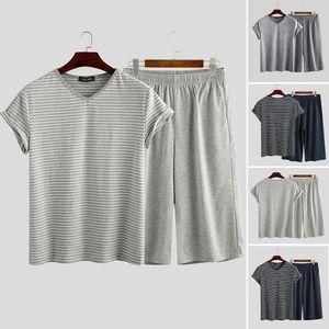 2020 Fashion Men Sleepwear Suits Men Striped Pajamas Sets Summer V Neck Leisure Short Sleeve T Shirts Casual Shorts Nightclothes