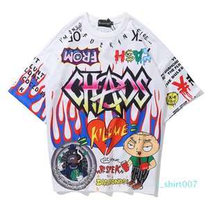 Aolamegs T Shirt Men Graffiti Cartoon Printed Men Tee Shirts Short Sleeve T Shirt Fashion High Street Tees Summer Streetwear t07