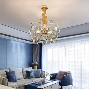 Moderna oro lampadario di cristallo di illuminazione per il salone da pranzo di lusso LED Camera Cucina Island Bar Sospese Light Fixtures