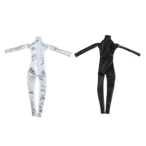 1 6 Scale Action Figure Woman PU Coverall Clothes Black Silver Toys x2