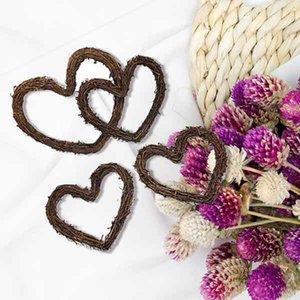 4-12 Inch Flores artificiais Rattan DIY Natural Coração Twig Shaped Garland Hanging Coroas Rattan festiva Loja Janela Porta Decor