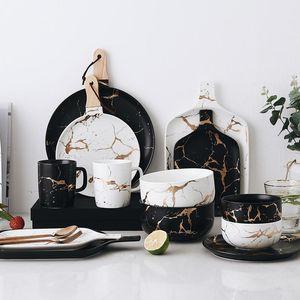 En iyi Altın Mermer Cileler Seramik Parti Sofra Seti Porselen Kahvaltı Plakaları Yemekler Şehriye Kase Kahve Kupa Bardak Dekorasyon için