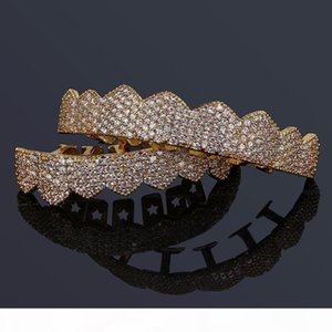 O Hip Hop Jewelry Mens Diamond Dientes Grillz Teeth Gold Silver Luxury Designer Iced Out Grills Hiphop Rapper Men Fashion Jewlery Acces