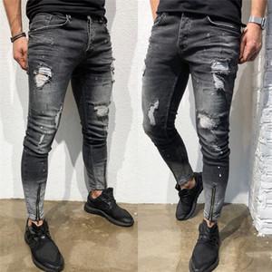 Mens Loch gerissen Vintage-Jeans Mann Zipper Grau Black Pencil Jeanshosen Männer Street Mode Hosen