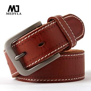 MEDYLA original leather men's belt retro casual design jeans belt for men's brand designer high metal pin buckle Dropship
