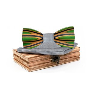 2020 Paisley 3D Green Wooden Bow Tie Silk Handkerchief Cufflink Brooch Set For Mens Wedding Novelty Accessory Ties and Box