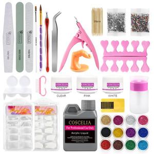 Full Set polvere acrilica Nail Manicure Kit di cristallo Nail Polymer capovolge l'acrilico polacco del gel del costruttore della decorazione di DIY Art