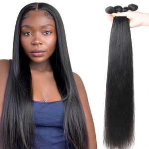 Прямая волна пучки человеческих волос Бразильское Natural Black Hair Weave 4 Remy парик для женщин Черный волос
