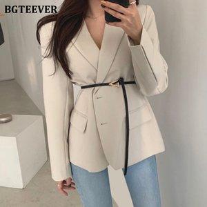 BGTEEVER elegante con muesca de cuello señoras de la chaqueta 2020 otoño delgado de la manera de la cintura con cinturón mujeres traje chaquetas de un solo pecho Outwear