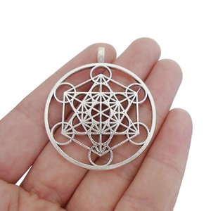 3x tibetan silver round archangel metatron cubes charms pendants for necklace jewelry making findings 46x40mm necklaces pendants