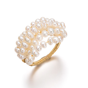Rings of Multi Layered Handmade Nature Freshwater Pearl Hot Sale for Women Lady Party Fine Jewelry Rings