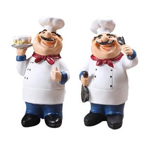 Estátuas 2set Resina Lifelike Kitchen Chef Ornamentos Kitchen Restaurant Cafe Decor