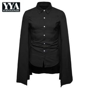 새로운 브랜드 패션 남성 망토 셔츠 긴 소매 슬림 맞춤 캐주얼 사회 턱시도 셔츠 싱글 브레스트 쇼 무대 Camisa 험 브레
