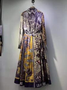 Весна 2020 ретро тяжелой промышленность новой длинный рукав отворот печать рубашка тенденция моды знаменитость темперамент два куска юбки с высоким набором сплита
